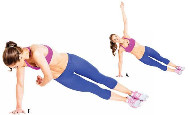В динамической планке прорабатываются те группы мышц, которые не были задействованы в статической планке.