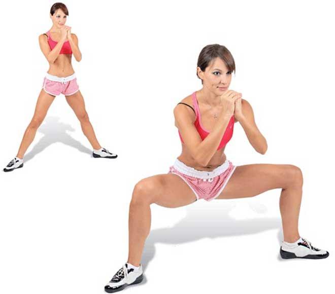 Основная часть нагрузки приходится на приводящие мышцы бедра (внутреннюю поверхность) и ягодицы.