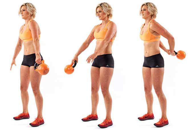 Чтобы найти свой вес, попробуйте выполнить пять повторений одного упражнения. Если легко, берите более тяжёлые гири.